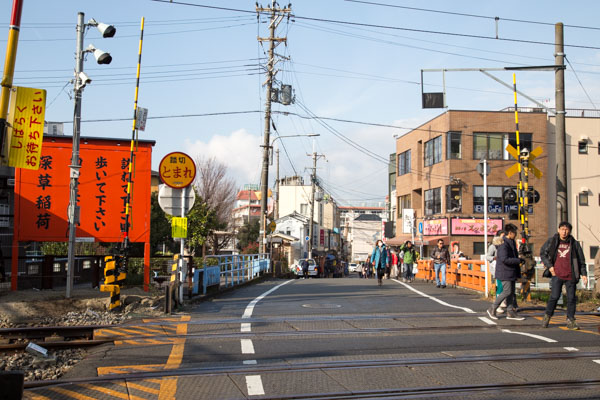 京阪電車への踏切