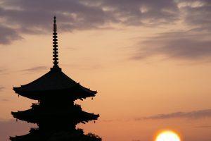 夕焼けの東寺