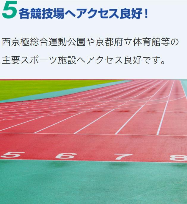 西京極総合運動公園や京都府立体育館等の主要スポーツ施設へアクセス良好です。
